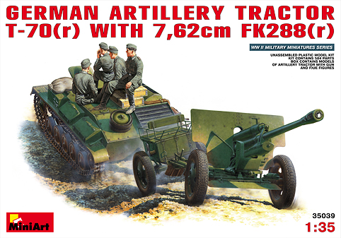 MiniArt - 35039 GERMAN ARTILLERY TRACTOR T-70(r) AND 7,62cm FK 288(r) w/CREW